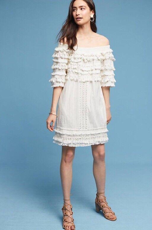 NEW  298 Anthropologie Luana Tassel Dress Größe XS Petite Ivory Fringe