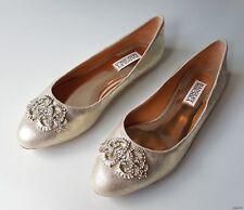 new BADGLEY MISCHKA beige nude gold JEWELED flats shoes 7.5 - WEDDING