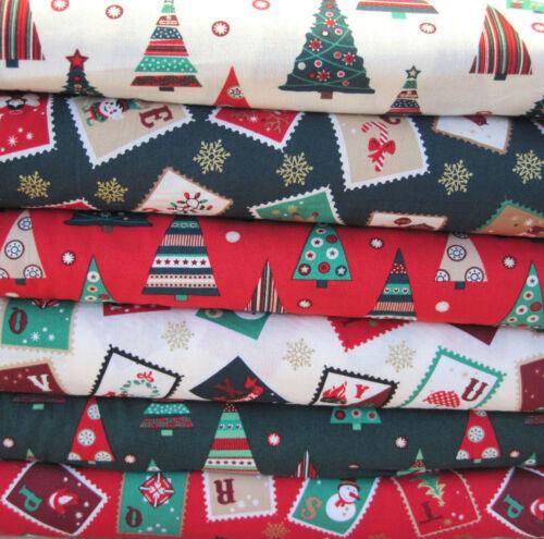 Fat Quarter Fabric Bundle Festive Christmas Trees Snowman Green Red Ivory F88