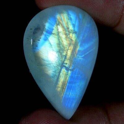 Amazing Rainbow Moonstone Gemstone Unique Blue Fire Oval Fancy Cabochon JG12785