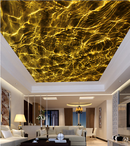 3D golden  Ripple 88 Ceiling WallPaper Murals Wall Print Decal Deco AJ WALLPAPER