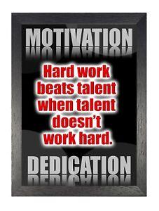 Detalles De Motivacionales 219 Dedicación Duro Trabajo Beats Talento Cita Cartel Impresión Fotográfica Ver Título Original