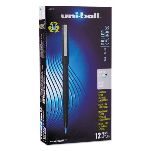 uni-ball Roller Ball Stick Dye-Based Pen Blue Ink Micro Dozen 60153