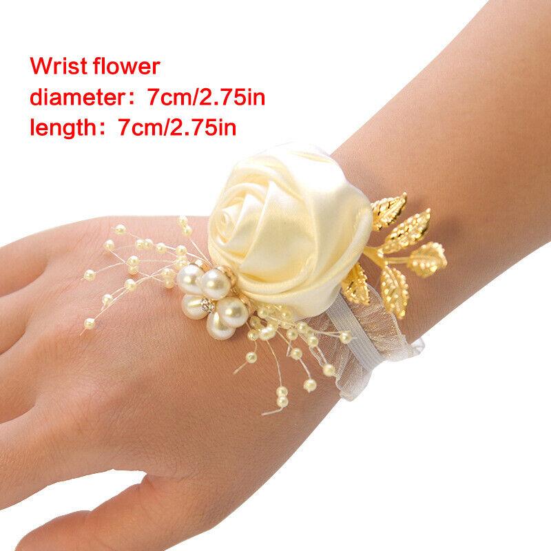 Wrist Corsage Bracelet Bride Bridesmaid Sisters Hand Flowers Wedding Party BR1