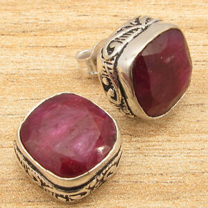 Red-Simulated-RUBY-UNISEX-JEWELRY-Stud-Earrings-Silver-Plated-Solid-Copper