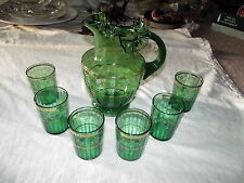 Antique Victorian Glass Pitcher & 6 tumblers, green Hand Painted FENTON ruffled