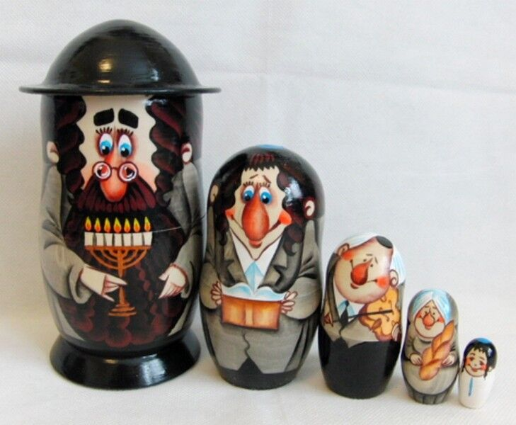 Russian Wooden Matryoshka Nesting Doll  Jewish Family  MENORAH 16 cm 5 Pcs Set
