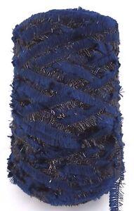 CHENILLE-LUREX-Yarn-Cone-Blue-with-Black-Lurex-Fantastic-17-5-Oz
