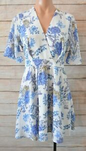 Dotti-Dress-Size-8-Small-Blue-White-Floral-Skater-Dress-Exposed-Zip