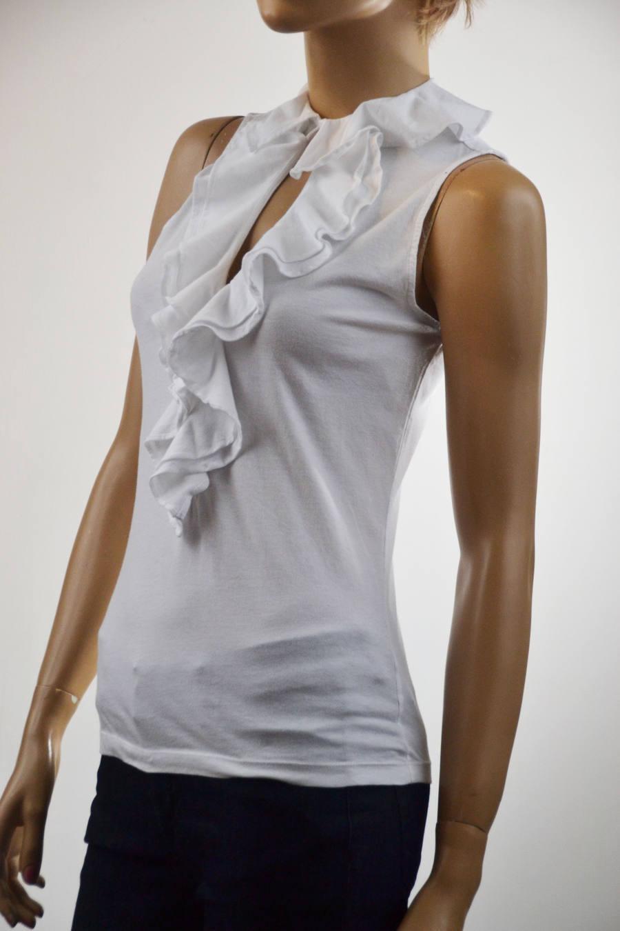 Ralph Lauren White Ruffle Cotton Knit Sleeveless Top - NWT-Retail