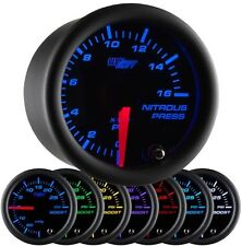GLOWSHIFT 52mm BLACK 7 COLOR 1600 PSI NITROUS NOS PRESSURE GAUGE - GS-C714