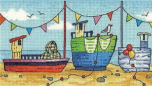 Heritage Crafts puntada cruzada contada Kit-por el mar por Karen Carter-Barcos