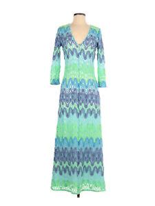 Women Lilly Pulitzer Lamora Blue Green Knit Lace Chevron Maxi Dress Size S