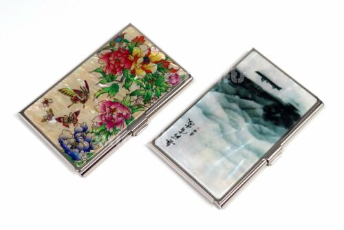 Mother of Pearl Metal Dragon Business Name ID Card Case Money Cash Holder Wallet