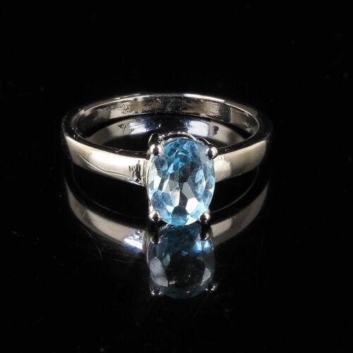 Haut Qualité Naturel Bleu Topaze Bague Magnificent Couleur 925 Argent Massif