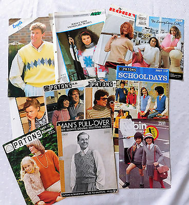 11 Vintage knitting pattern leaflets 1930s 1960s 1970s 1980s Patons Lister Lee