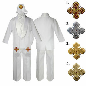 7pc White Baby Kid Boy Christening Baptism Shawl Lapel Suits Cross Hat Stole S-7