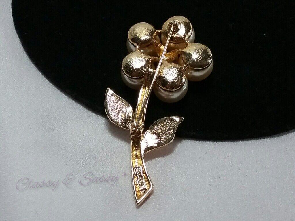 Vintage Gold Piscitelli Crystal Rhinestone Pearl … - image 2
