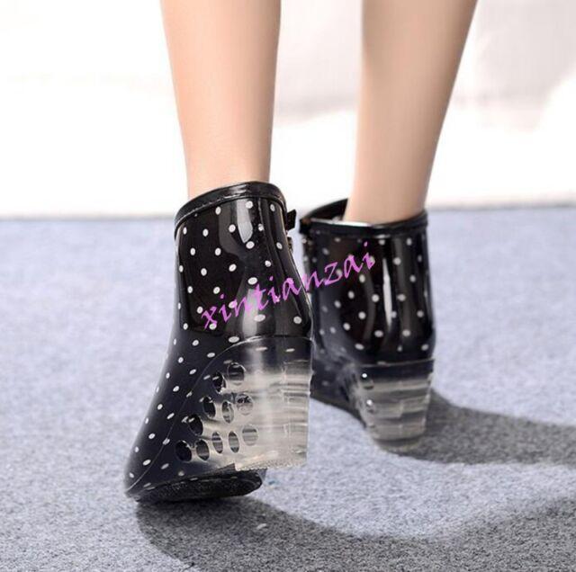 Women/'s Fashion Korean Wedge Heels Polka Dot Ankle Rainboots Pumps