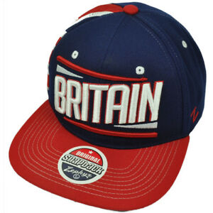 Zephyr Victory Britain Country Flag Navy Blue Red Flat Bill Snapback ... f0235415a839