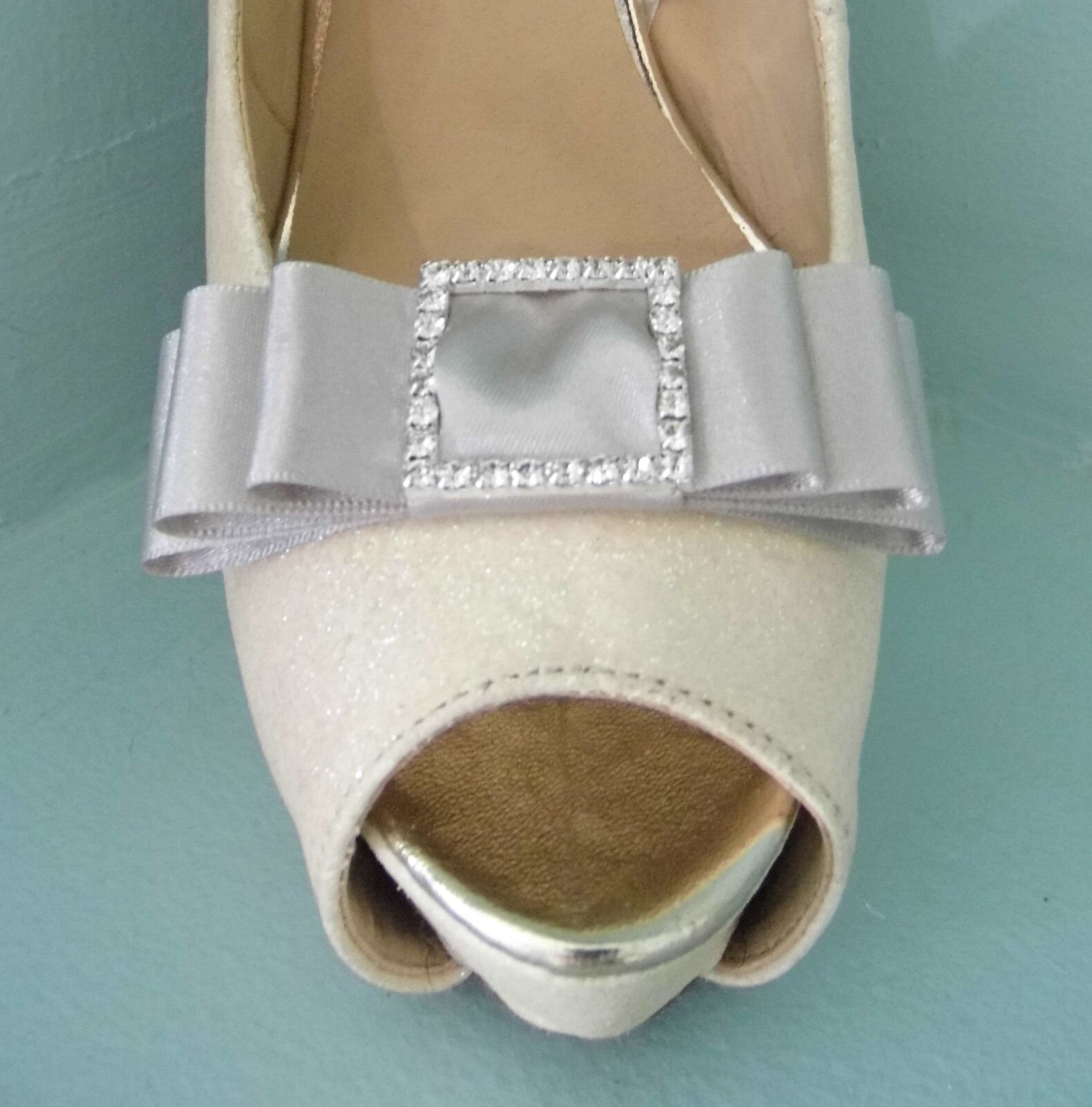 2 Mink Satin Bow Clips for Shoes with Diamante Buckle Centre
