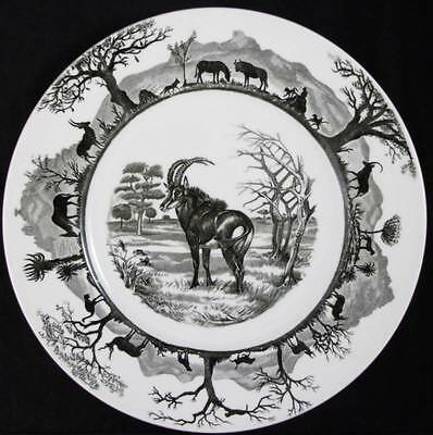 "Wedgwood KRUGER NATIONAL PARK Dinner Plate ""Sable Antelope"" map GREAT CONDITION"