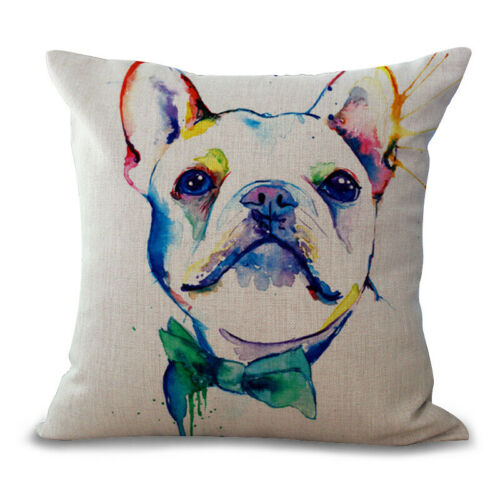 "18/""  Ink painting Dog Cotton Linen Cushion Cover Pillow case Home Decor"