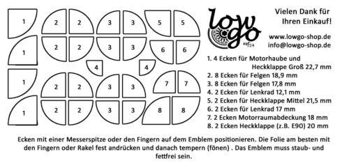 Rouge emblème coins autocollant BMW e30 e36 e38 e39 e46 e60 e87 e90 f20 f30 f80