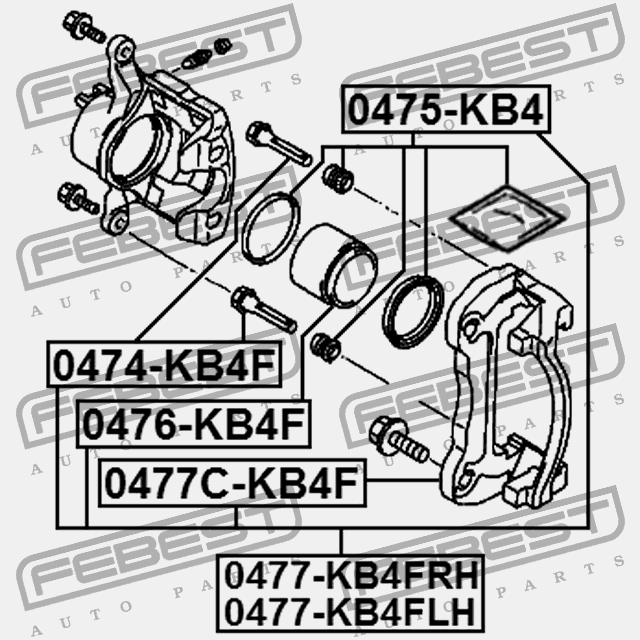0477c Kb4f Febest Support Front Brake Caliper For Mitsubishi