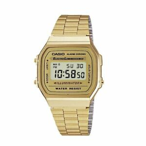 Genuine-CASIO-Retro-Classic-Unisex-Digital-Steel-Bracelet-Watch-A168WA-1YES-Gold