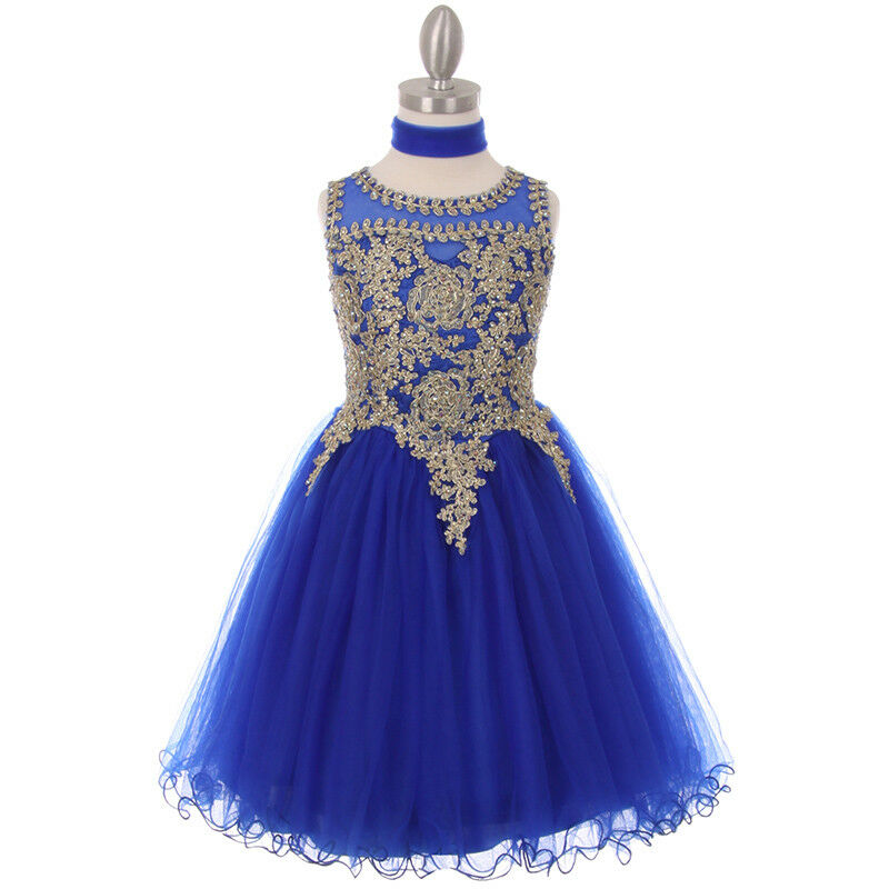 ROYAL BLUE Flower Girl Dress Wedding Dance Party Formal Recital Graduation Prom