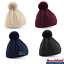 POM POM BEANIE HAT BOBBLE CABLE KNIT HEAVYWEIGHT KNITTED CUFFED WARM SOFT OFFER