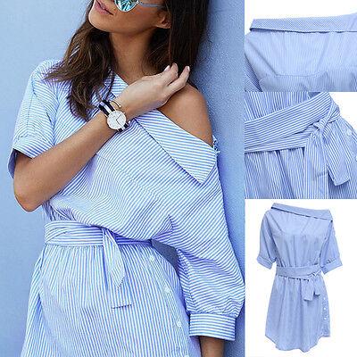 Summer Women's Fashion Casual Short Sleeve Girls Beach Cocktail Mini Shirt Dress