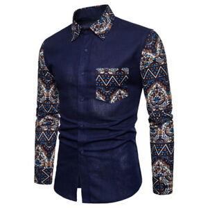 Fashion-Mens-Long-Sleeve-Botton-Down-Casual-Shirts-Slim-Fit-Floral-Dress-Shirts