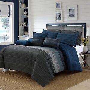 Amsons Grey Black Blue Stripes King Size Doona/Duvet/Quilt Cover Set
