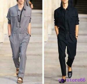 Men/'s Long Sleeve Romper Jumpsuit Casual Pants Overalls Cargo Work Long Trousers