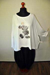 MYO-Lagenlook-Oversize-Big-Kasten-Shirt-Schlitze-M-Mouse-weiss-46-48-50-52-54-56