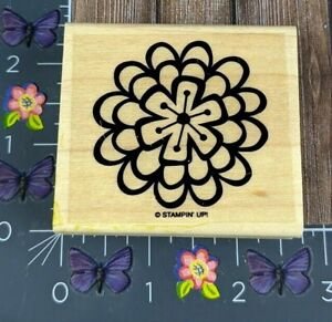 Stampin' Up! Flower Shape Rubber Stamp Layered Design Wood Mount #C26