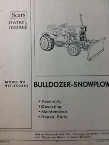 Details about Sears Custom 6 7 XL 917 250552 Tractor Bulldozer Push Blade  Owner & Parts Manual