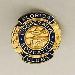 Florida-Cooperative-Education-Clubs-Pin-Badge-Rare-Vintage-E9