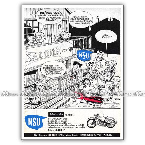 PUB NSU QUICKLY S/23 par DINO ATTANASIO - Moped Ad / Publicité Cyclo de 1964