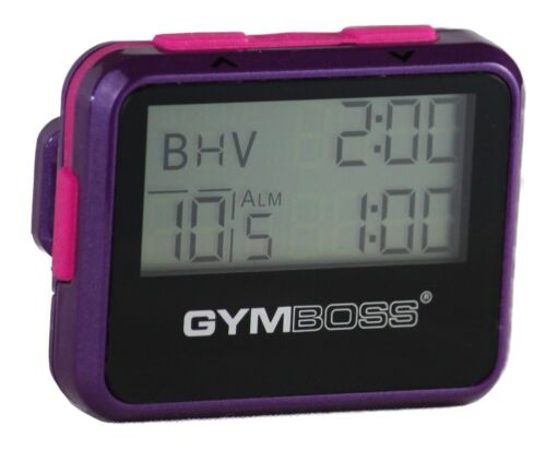 GYMBOSS INTERVAL TIMER /& STOPWATCH VIOLET PINK METALLIC GLOSS FROM GYMBOSS HQ