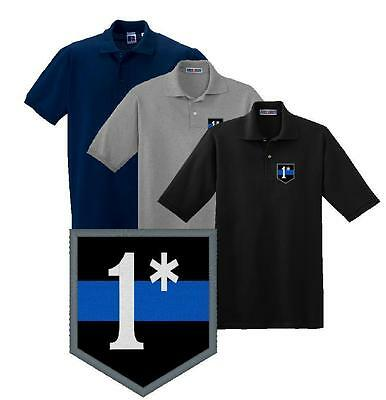 Thin Blue Line 1* Embroidered Polo Shirt M-5X Police Sheriff Deputy Trooper
