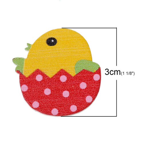 48J 10 PAINTED WOODEN EASTER CHICKEN~EGG EMBELLISHMENT~30mm~Cards~Crafts~Hats