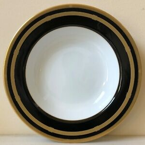 Christian-Dior-GAUDRON-ONYX-GOLD-TRIM-Rimmed-Soup-Bowl-NEW-CONDITION-Last-One