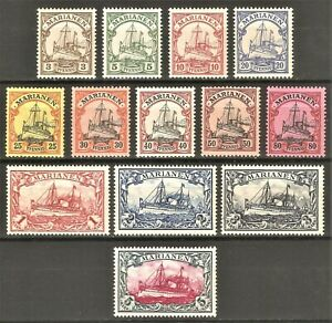 DR Germany Colonies Dt. MARIANEN Rare WW1 Stamps 1901 Kaiser Yacht Full Set 7-19