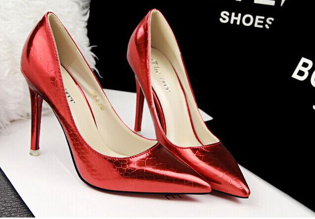 Elegant Décollte shoes court shoes woman stiletto heel 10,5 cm mode red 8587