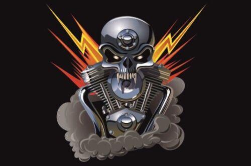 Autocollant Métal Skull avec flash Drapeau Drapeau 30 x 20 cm des autocollants