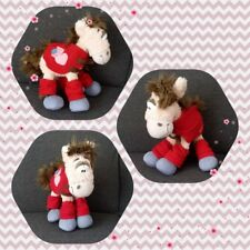 Peluche Doudou Diddl Cheval Galupy Tenue rouge coeur TBE 35cm