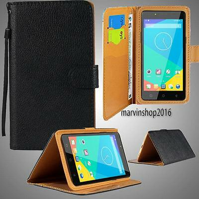 Black Leather Stand Flip Wallet Cover Phone Case For Timmy Model +Strap